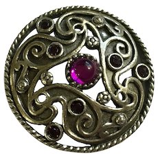 Miracle Silver-tone with Purple Rhinestone Center Pewter Brooch Pin