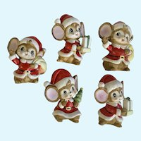 Vintage Christmas Santa Mice Figurines Homco