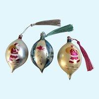 Vintage Hand Blown Glass Teardrop Ornaments Santas and Birds Poland