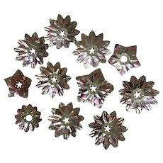 Vintage Christmas Light Foil Reflectors Triple Layer Stars and Flowers 11 pcs