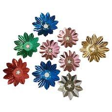 Vintage Christmas Light Foil Reflectors Multi-Colored Flowers 9 Pc