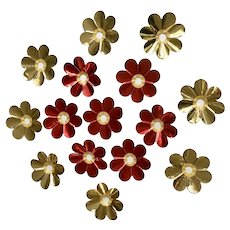 Vintage Christmas Light Foil Reflectors Red Gold Flowers 15 Pc
