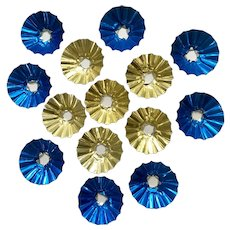 Vintage Christmas Light Foil Reflectors Blue and Gold Rounds 14 Pc