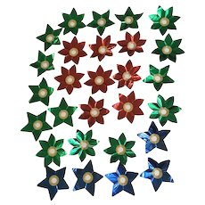 Vintage Christmas Light Foil Reflectors Blue and Gold Stars Flowers 28 Pc