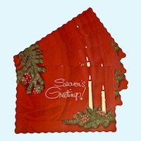Mid-Century Christmas Placemats Season's Greetings Milwaukee Lace Paper Co. 25 Pc