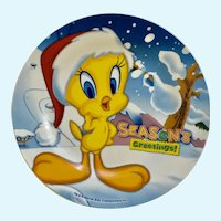 Tweety Bird Santa Christmas Season's Greeting Plate Warner Bros.