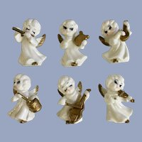 Christmas White Gold Angels Playing Musical Instruments Porcelain  Figurines