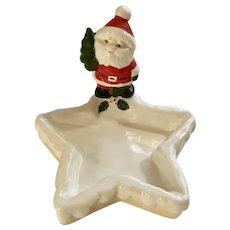 Vintage Christmas Santa Star Ceramic Candy Dish