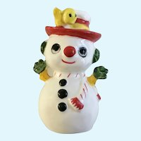 Frosty the Snowman Bone China Figurine with Yellow Bird