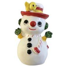Frosty the Snowman Bone China Figurine with Yellow Bird