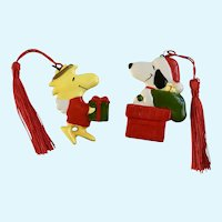 Woodstock Angel  & Santa Snoopy Peanuts Character Christmas Ornaments