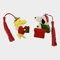 Woodstock Angel  & Santa Snoopy Peanuts Character Christmas Ornaments
