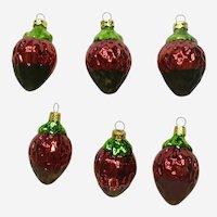 Vintage Kurt Adler Chocolate Dipped Strawberries Glass Christmas Ornaments