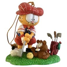 Garfield The Cat Playing Golf with Ground Hog Christmas Ornament