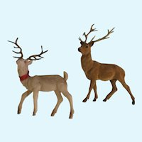 Vintage Flocked Pink & Brown Deer with Antlers Christmas Figurines