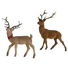 Vintage Flocked Pink & Brown Deer with Antlers Christmas Figurines
