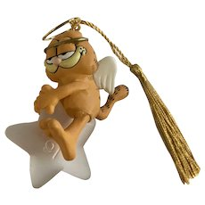 Garfield Cat Angel Sitting on a Star Christmas Ornament