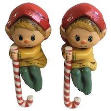 Vintage Hallmark Christmas Elf Stocking Holders