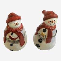 Adorable Christmas Snowman Salt & Pepper Shakers Ceramic CIC