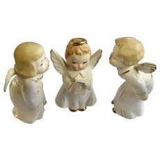 Mid-Century Wedding Angels Kissing Cake Toppers Ceramic Figurines Japan