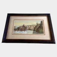 Austin Deuel, Watercolor Painting Figurals, Cowboy and his Pack Horse in the Desert Stream, Painted on Rag Board, Signed by Listed Artist