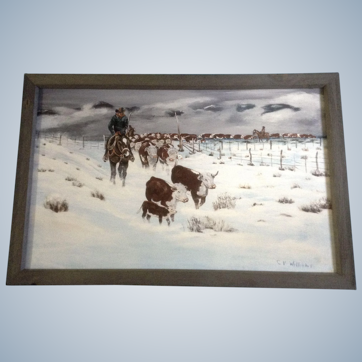 C V Williams Bringing In The Herd Cowboys And Cows Acrylic On Canvas Signed By Artist