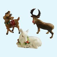 Vintage Nativity Animals Deer, Reindeer and Moose