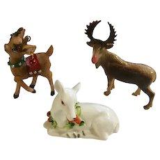 Vintage Nativity Animals Deer, Reindeer and Moose