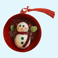 Snowman Diorama Christmas Ornament Hand Made