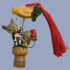 Enesco Treasury Christmas Ornament Mice on a Wine Cork Cheers