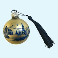 Vintage Mercury Glass Ball Ornament with European Village Scene