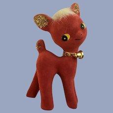 Adorable Red Flocked Deer Figurine Mid-Century Christmas Decoration