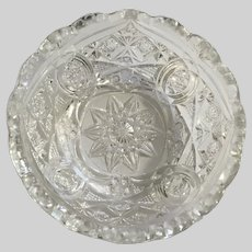 Candy Dish Clear Pressed Glass Stars and Diamonds