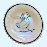 Vintage Mosser Glass Trinket Dish Duck Iridescent Rainbow Hand Painted