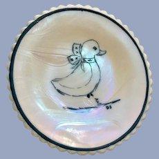 Vintage Mosser Glass Trinket Dish Duck Iridescent Rainbow Hand Painted