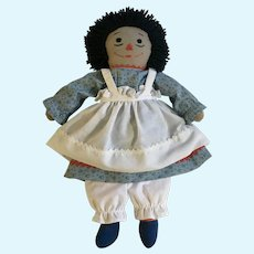 Adorable Raggedy Ann Black Doll with I Love You Stitched Heart