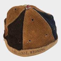 Vintage Leather Suede Beanie Cap Child's Hat Cheyenne, Wy