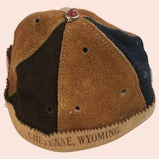 Vintage Leather Suede Beanie Cap Child's Hat Cheyenne, Wy