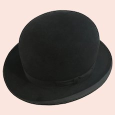 Vintage Felt Derby Bowler Hat Brooks Clothing Company California 7-3/8