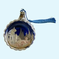 Vintage Mercury Glass Ball Ornament with Town Scene