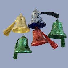 Vintage Glitter Bell Christmas Ornaments