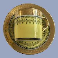 Parana Porcelanarte Demitasse Cup & Saucer Set Yellow with Gold Trim