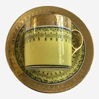 Parana Porcelanarte Demitasse Cup & Saucer Set Yellow with Gold Trim