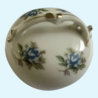 Blue Rose Floral Porcelain Trinket Box Footed
