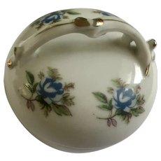 Blue Rose Floral Porcelain Trinket Box Footed