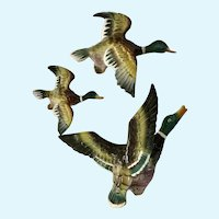 Mid-Century Flying Ducks Wall Bird Plaques A-249 Japan