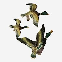 Mid-Century Flying Ducks Wall Bird Plaques A-249 Japan