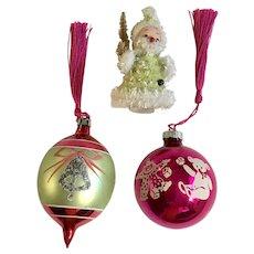 Vintage Glass Christmas Ball Ornaments and Santa Group