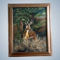Donna Harris, Deer Buck In a Forest, Oil Painting on Canvas, Signed By Artist