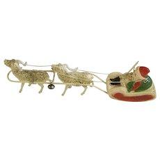 Vintage Celluloid Santa Sleigh With 2 Reindeer Christmas Figurine Decoration